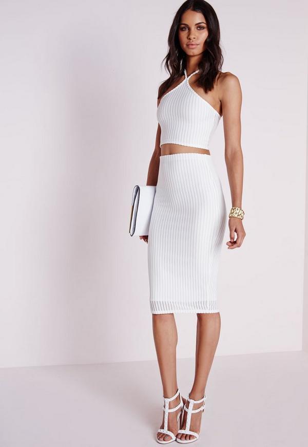 Burnout Stripe Midi Skirt White
