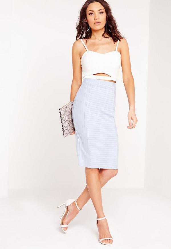 Bandage Midi Rib Skirt Pale Blue