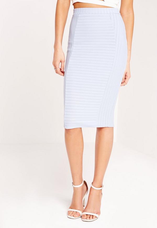 bandage midi rib skirt pale blue missguided