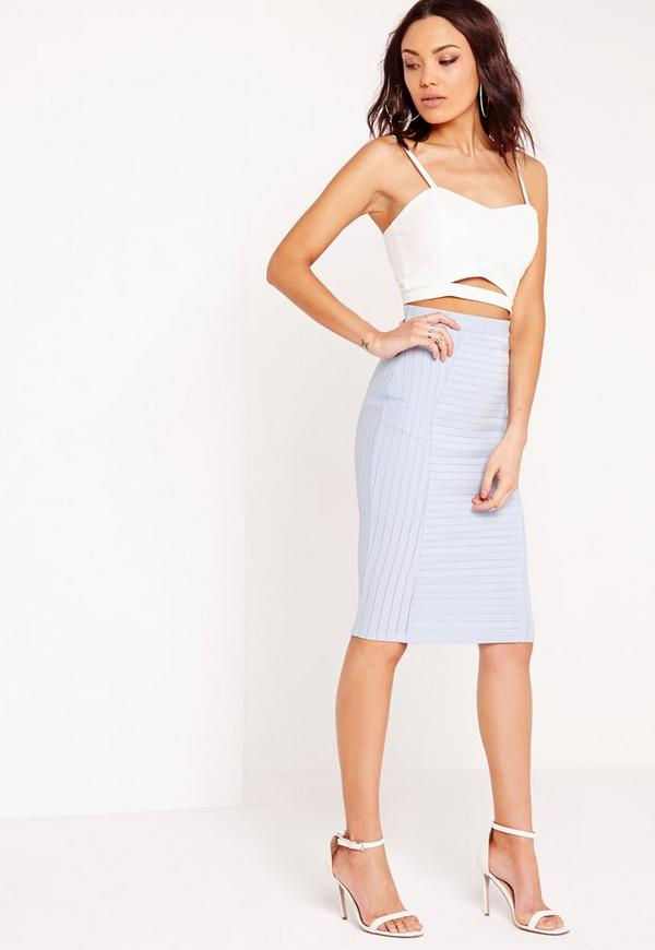 bandage midi rib skirt pale blue missguided australia