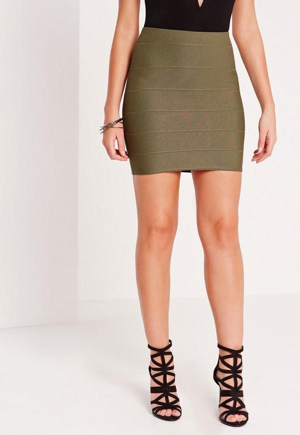 Bandage Mini Skirt Khaki | Missguided