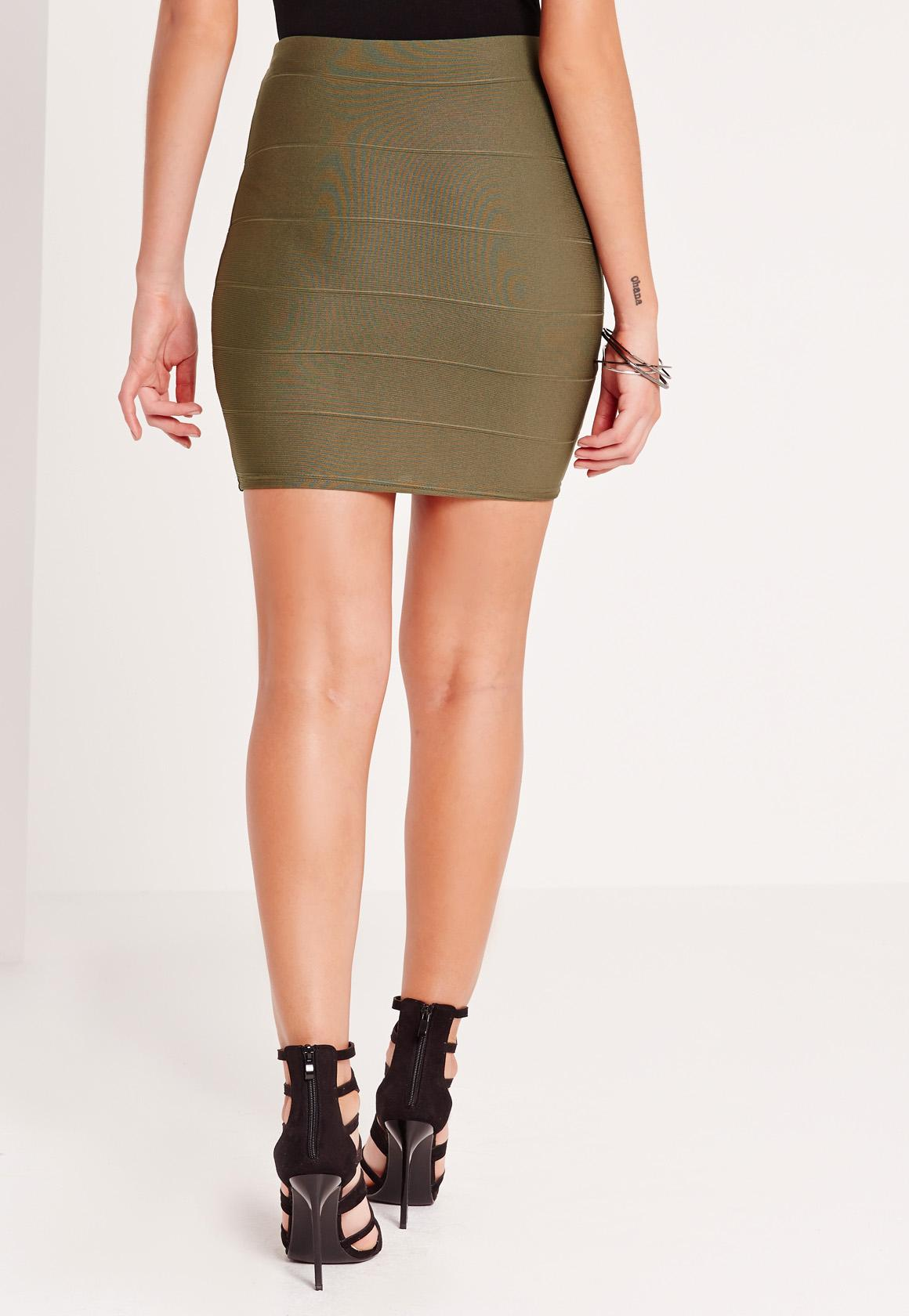 Bandage Mini Skirt Khaki