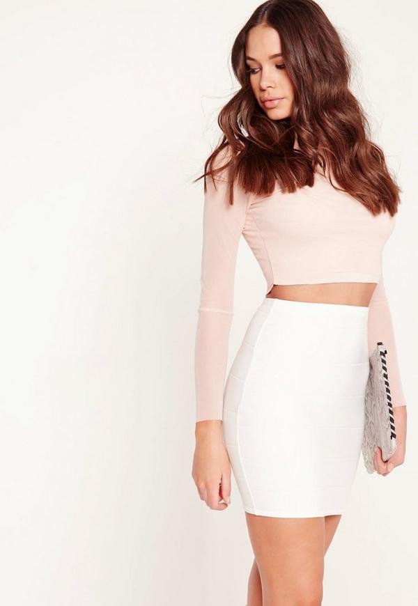 Bodycon Bandage Mini Skirt White