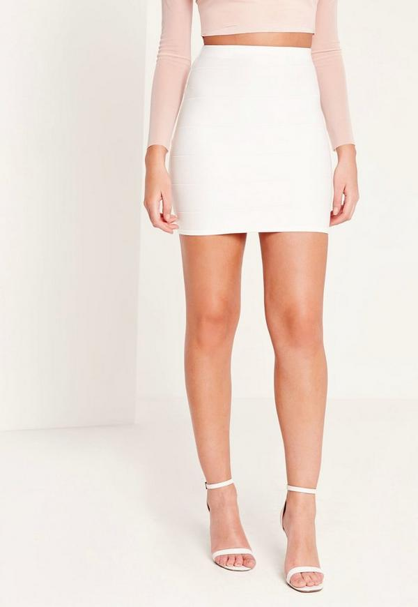Bodycon Bandage Mini Skirt White | Missguided