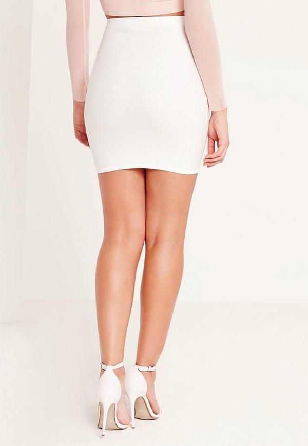 Bodycon Bandage Mini Skirt White   Missguided