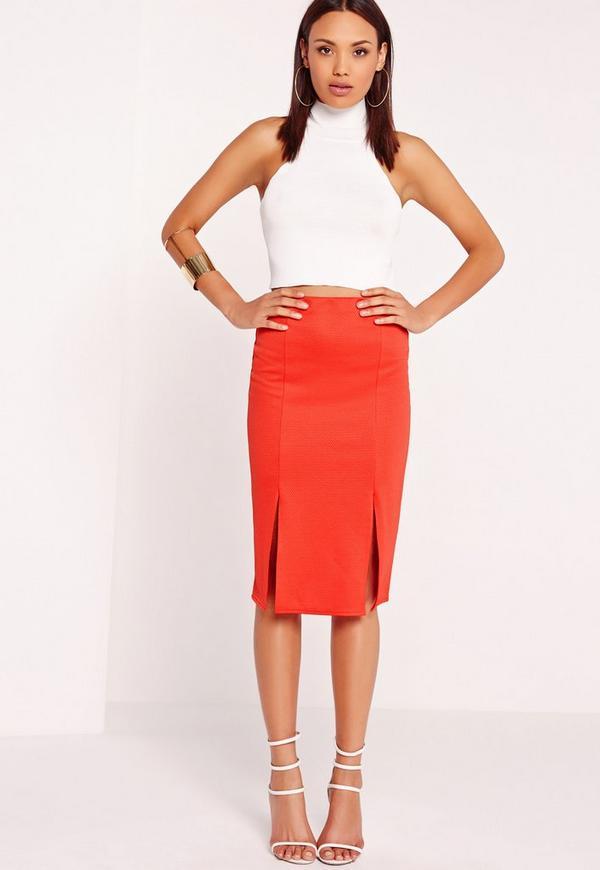 Textured Split Front Midi Skirt Red