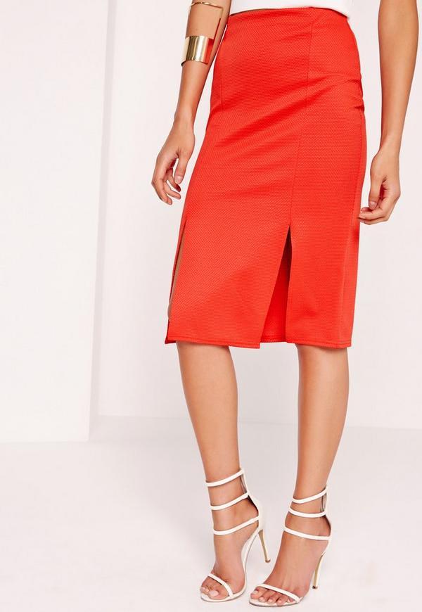 textured split front midi skirt missguided