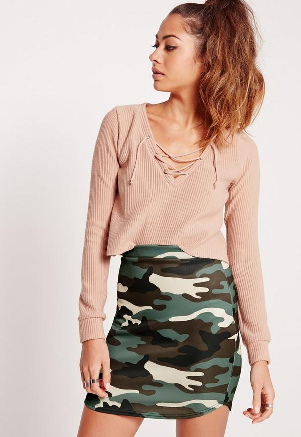 Camo Scuba Print Mini Skirt Multi