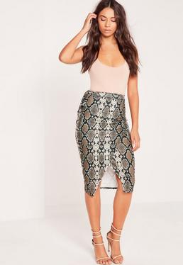 Snake Print Side Tie Wrap Midi Skirt Brown