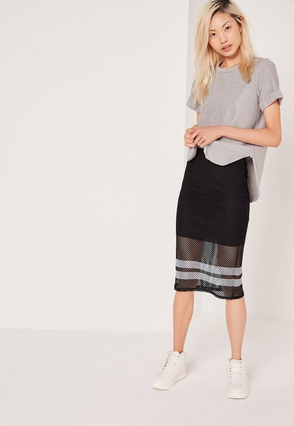 Fishnet Double Stripe Mesh Skirt Black