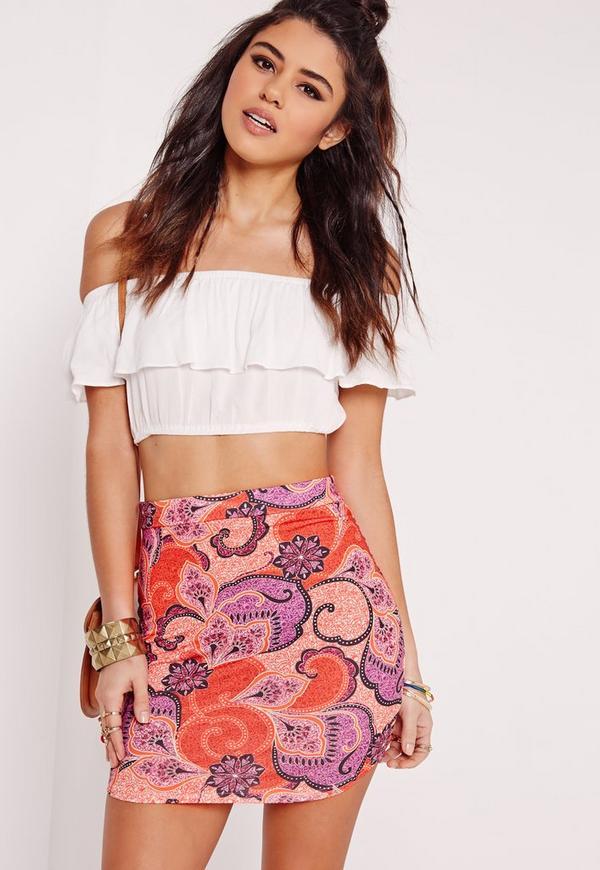 Paisley Print Jersey Skirt Multi