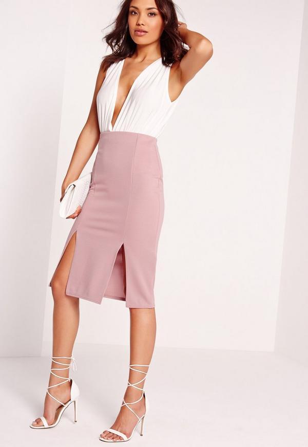 textured split front midi skirt lilac