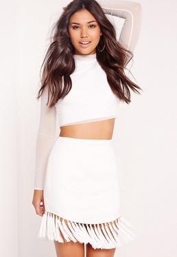 Tassel Hem Mini Skirt White