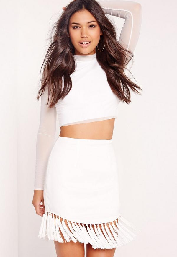 Tassel Hem Mini Skirt White
