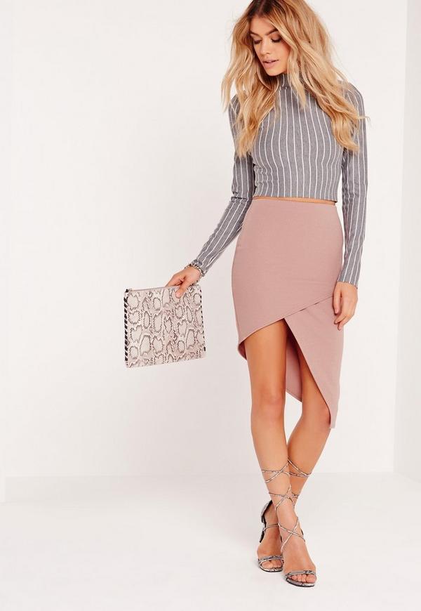 Slanted Wrap Skirt Pink