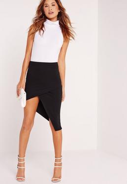 Slanted Wrap Skirt Black