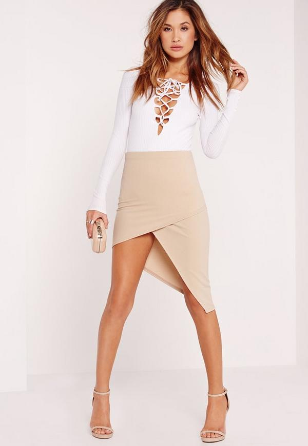 Slanted Wrap Skirt Nude