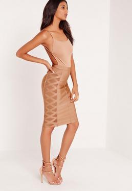 Premium Mesh Panel Side Midi Bandage Pencil Skirt Brown