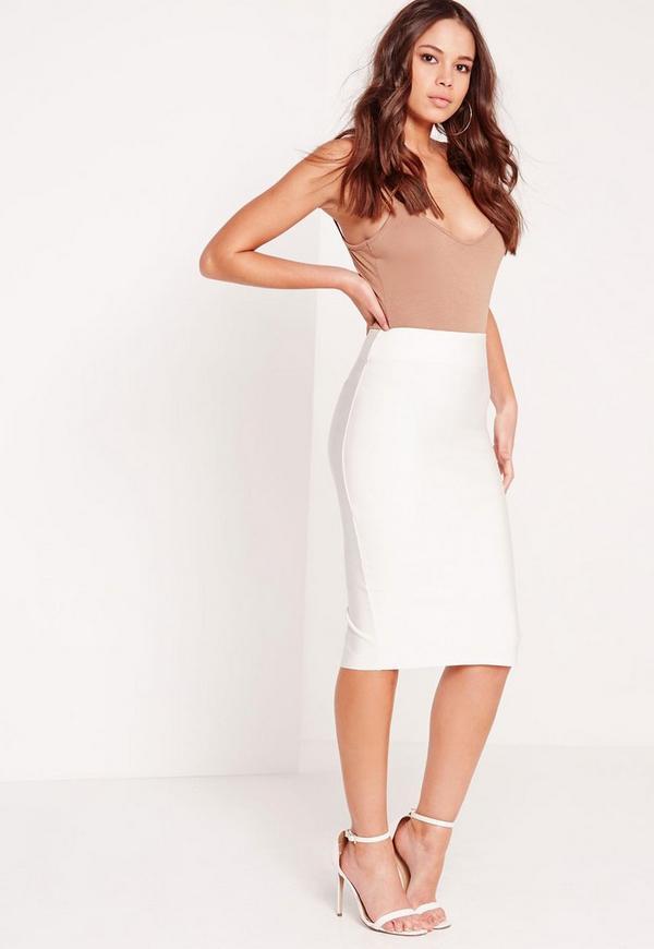 Premium Bandage Longline Midi Skirt White