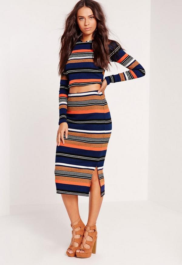 striped midi skirt multi
