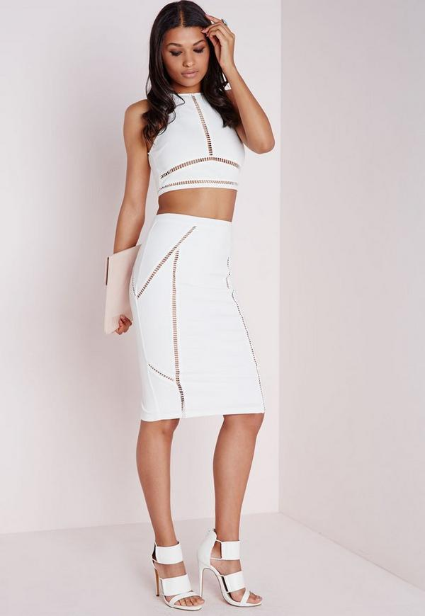 Ladder Trim Bodycon Midi Skirt White