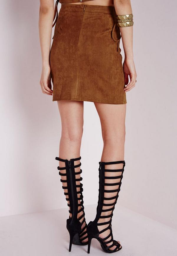 Pocket Faux Suede Mini Skirt Tan | Missguided