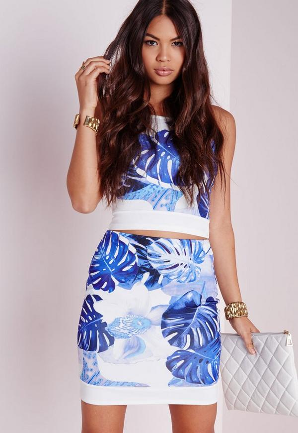 Leaf Print Mini Skirt Blue