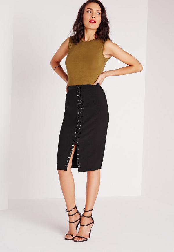 Lace Up Midi Skirt Black