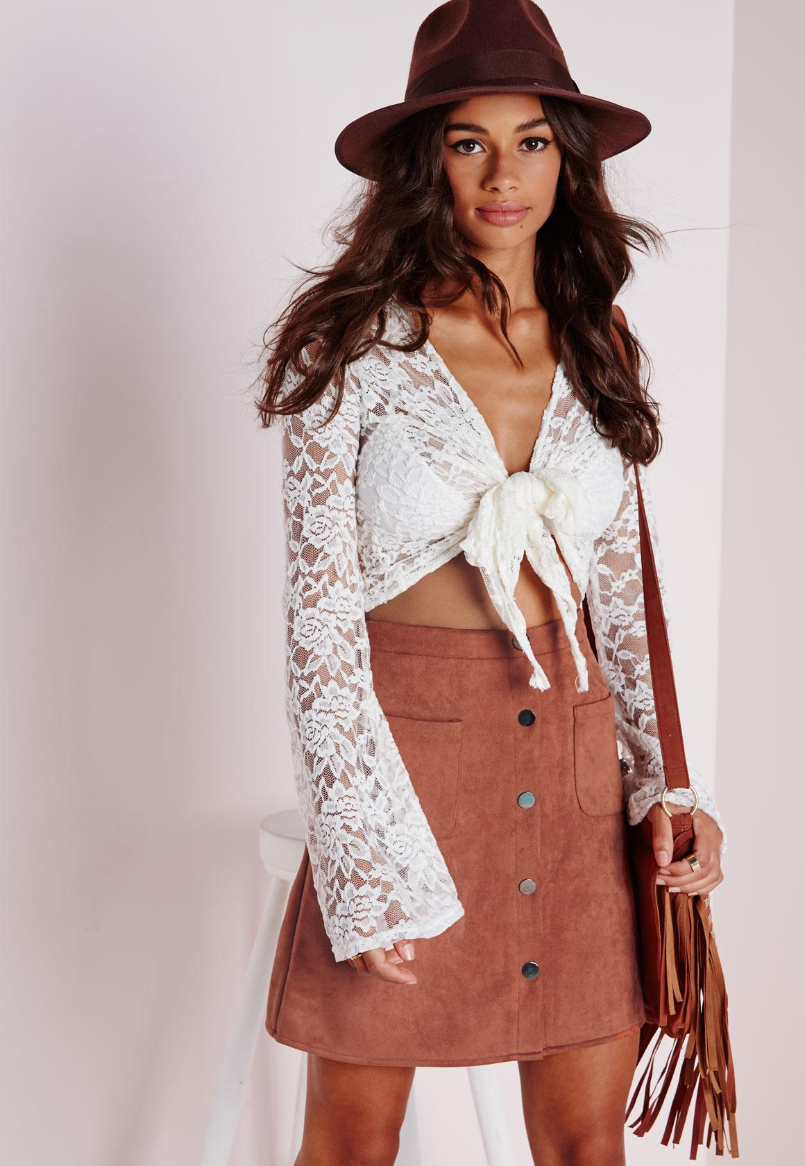 Patch Pocket Faux Suede A Line Skirt Tan   Missguided
