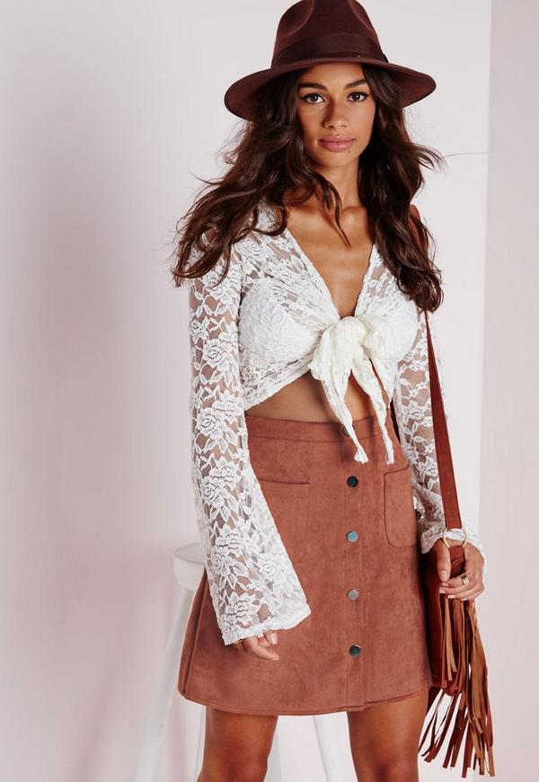 Patch Pocket Faux Suede A Line Skirt Tan