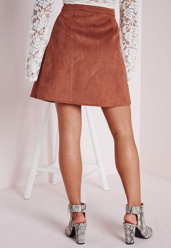 Patch Pocket Faux Suede A Line Skirt Tan | Missguided