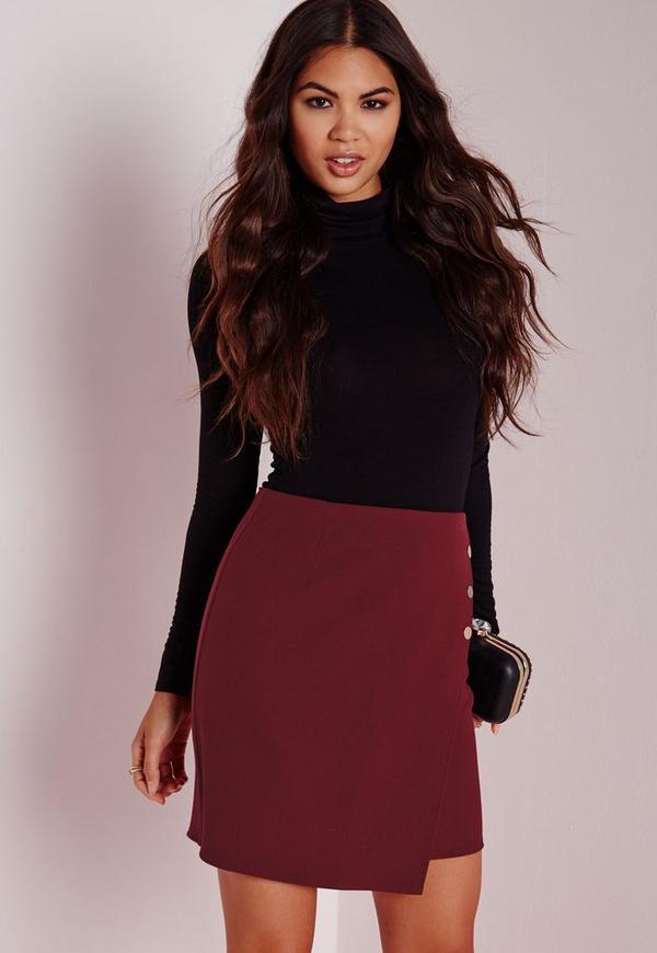 Gold Button Wrap Mini Skirt Burgundy