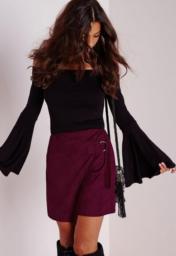 D-Ring Faux Suede Wrap Mini Skirt Burgundy