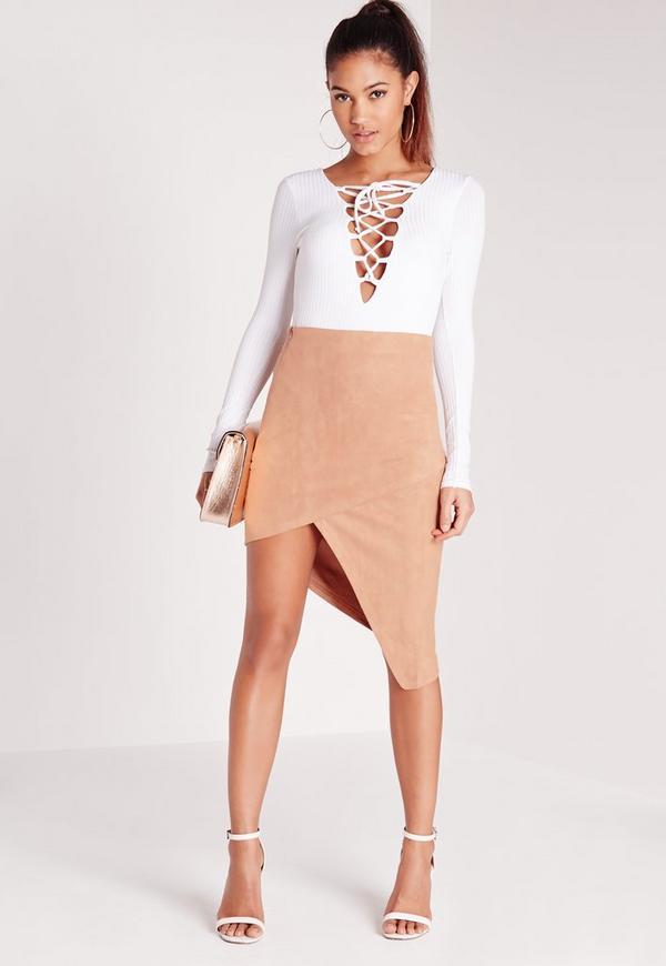 Faux Suede Asymmetric Skirt Nude