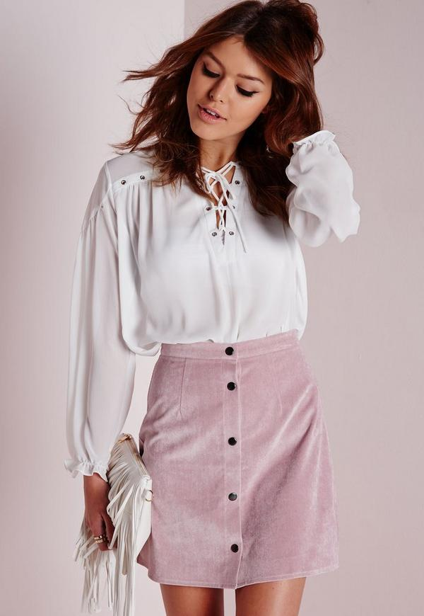 Cord Button Through A Line Skirt Mauve