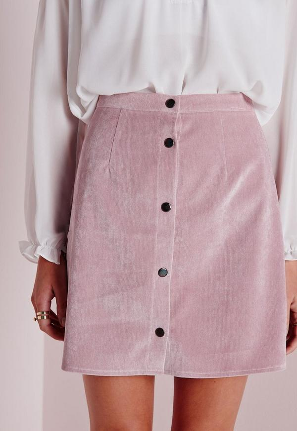 Cord Button Through A Line Skirt Mauve | Missguided