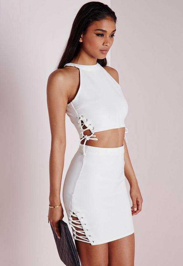 Lace Up Tie Detail Bodycon Mini Skirt White Missguided