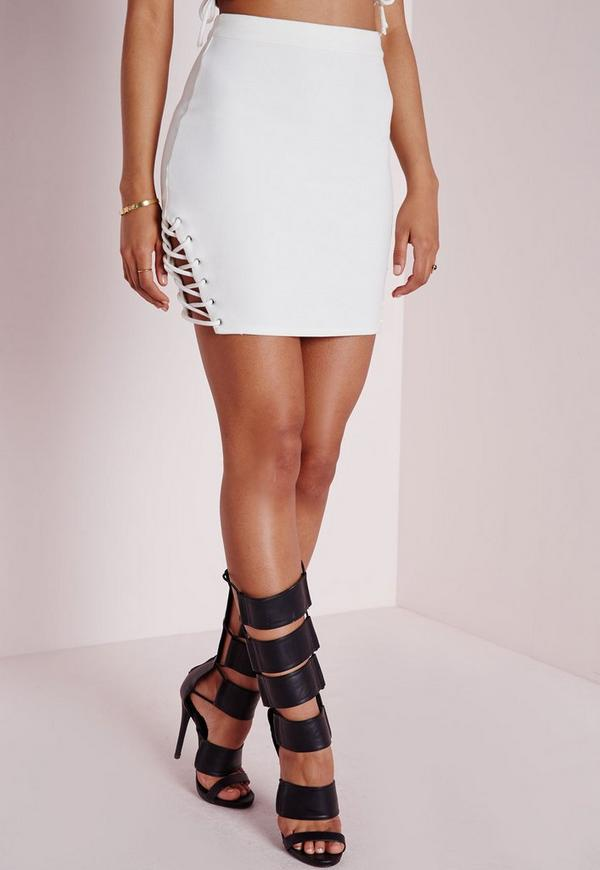 Lace Up Tie Detail Bodycon Mini Skirt White | Missguided