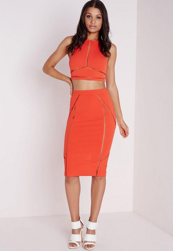 Ladder Trim Bodycon Midi Skirt Orange