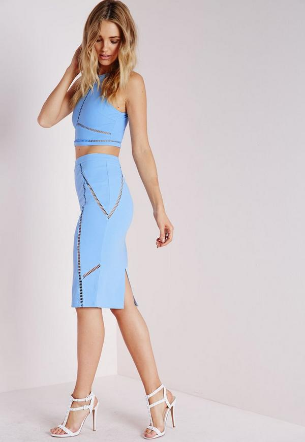 Ladder Trim Bodycon Midi Skirt Baby Blue - Co-Ordinates - Missguided