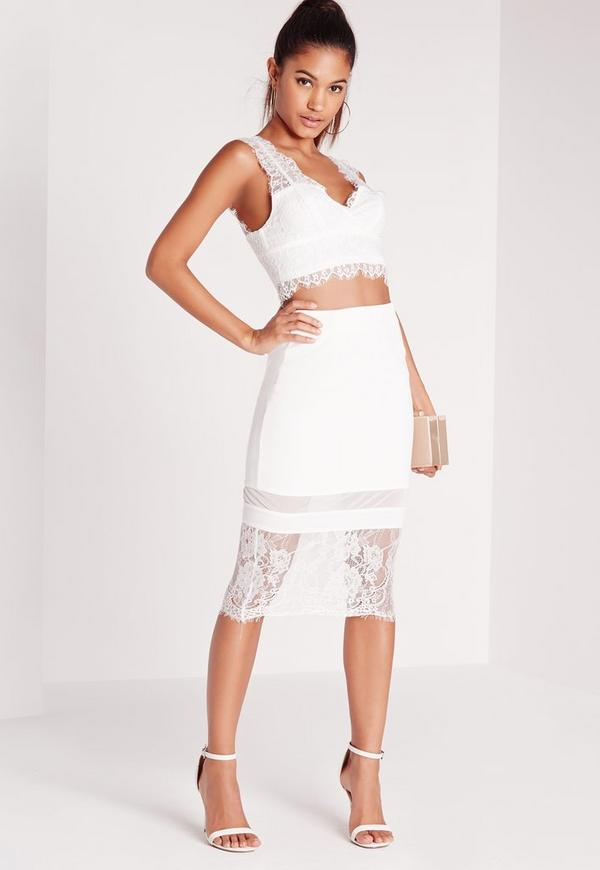 Lace Hem Midi Skirt White