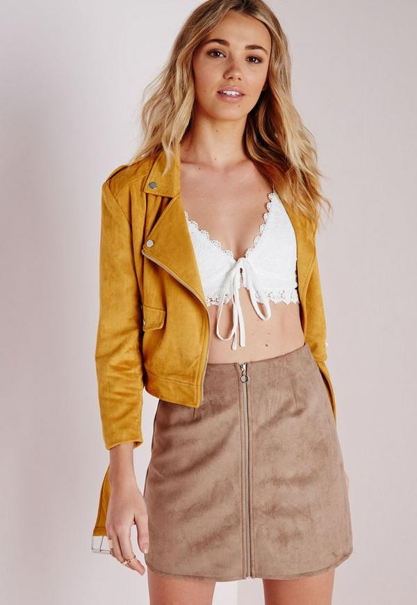 Zip Detail Faux Suede A Line Skirt Taupe - Skirts - A-Line Skirts ...