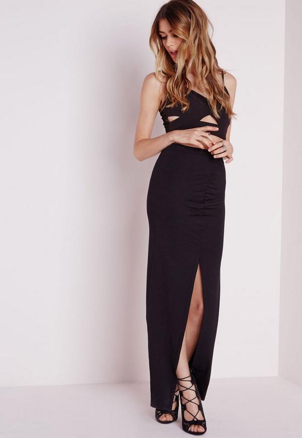 Front Split Ruched Maxi Skirt Black