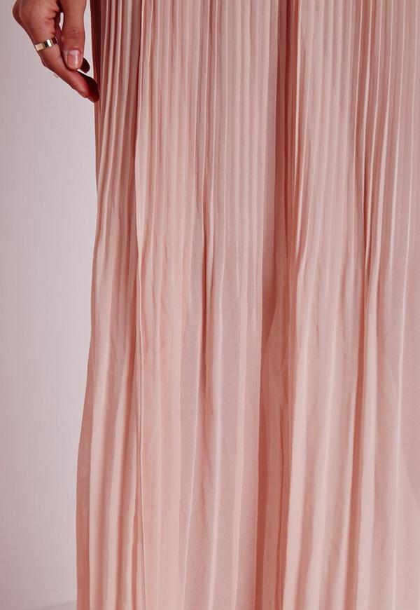 jupe longue pliss e nude fendue missguided. Black Bedroom Furniture Sets. Home Design Ideas