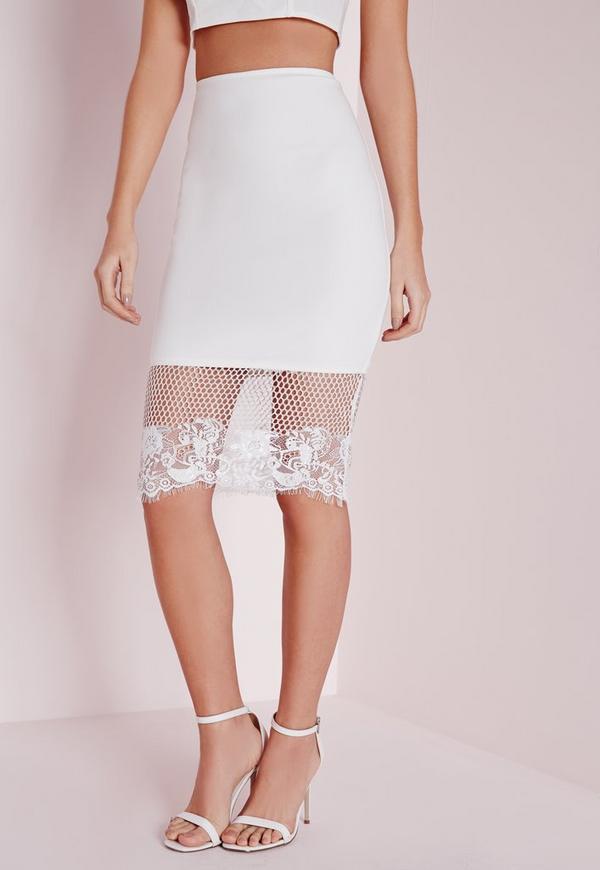mesh lace hem midi skirt white missguided