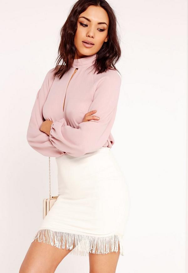 Fringe Curve Hem Mini Skirt White