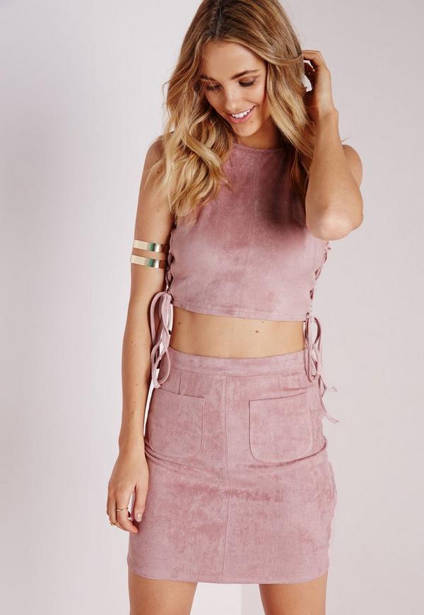 Pocket Faux Suede Mini Skirt Mauve