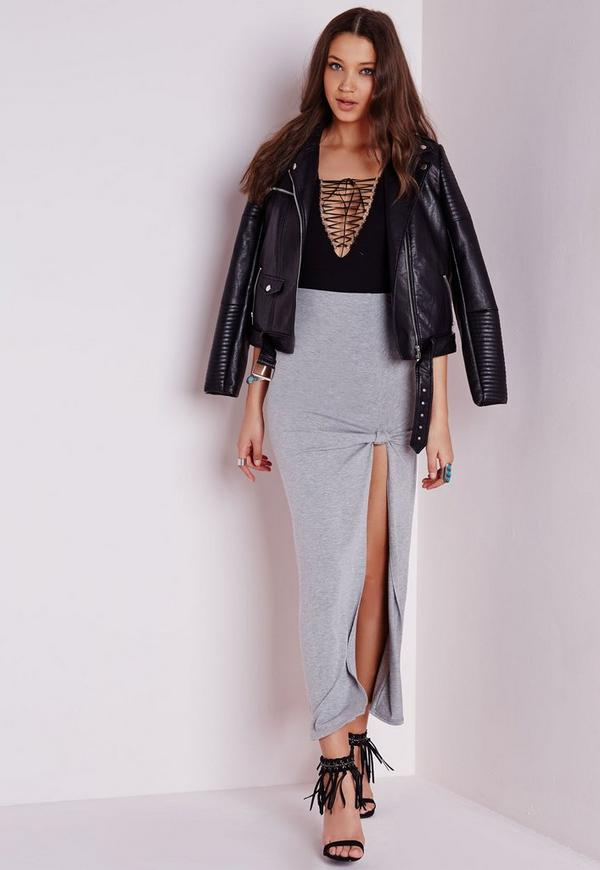 Tie Knot Maxi Skirt Grey