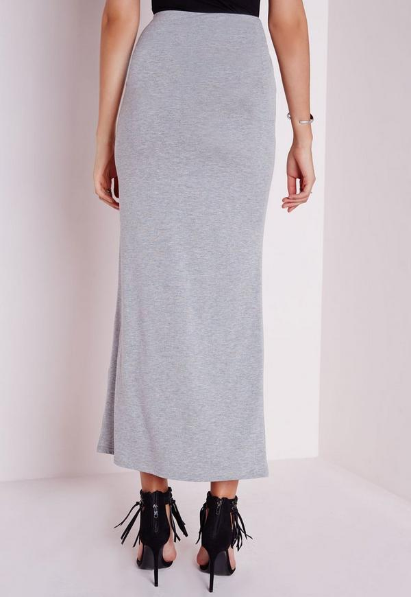 tie knot maxi skirt grey missguided