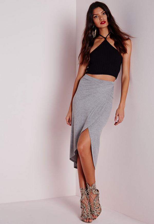 Wrap Rib Midi Skirt Grey